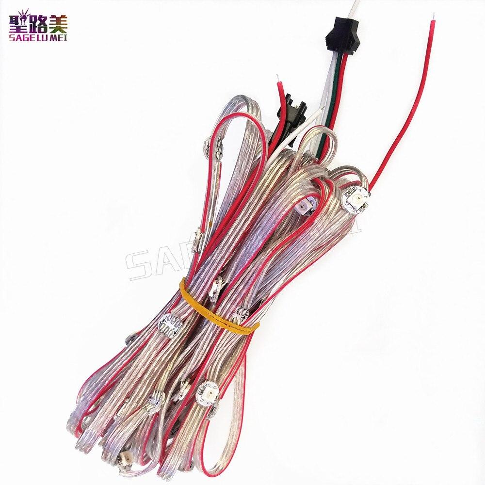 Luz LED a todo color 5050 RGB WS2811 IC iluminación de cadena integrada vacaciones 50 píxeles presoldado WS2812B 2812 LED disipador de calor DC5V