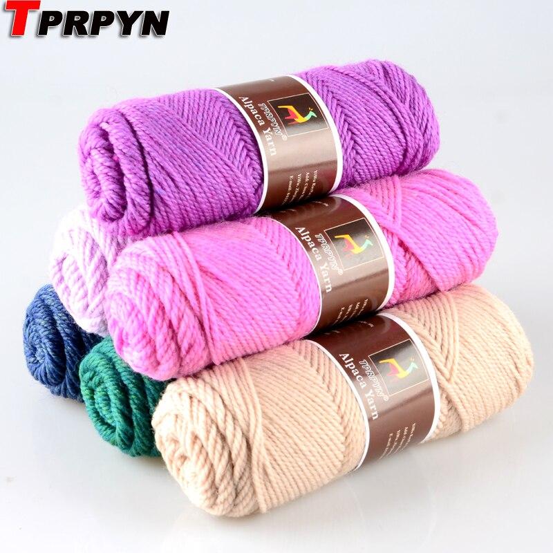TPRPYN 1 шт. = 100 г, Шерсть альпака, мягкая теплая вязка, Шерсть альпака, вязаные крючком нити, шарфы, перчатки, ручная работа, чистый мультический