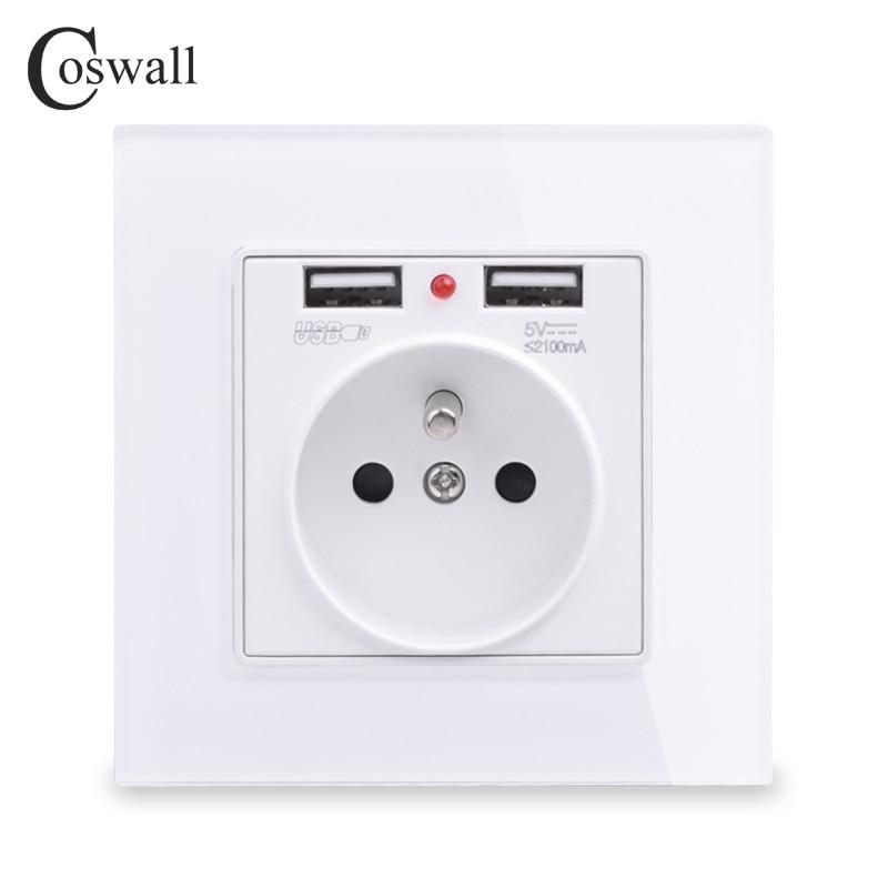 COSWALL, новинка 2019, настенная розетка, заземленная 16А, французский стандарт, электрическая розетка с 2100mA, двойной usb-порт для зарядки мобильных телефонов