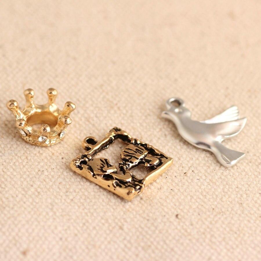 DIY joyería oro/negro esmaltado encantos corona paloma aleación colgantes pulsera collar colgantes accesorios de joyería