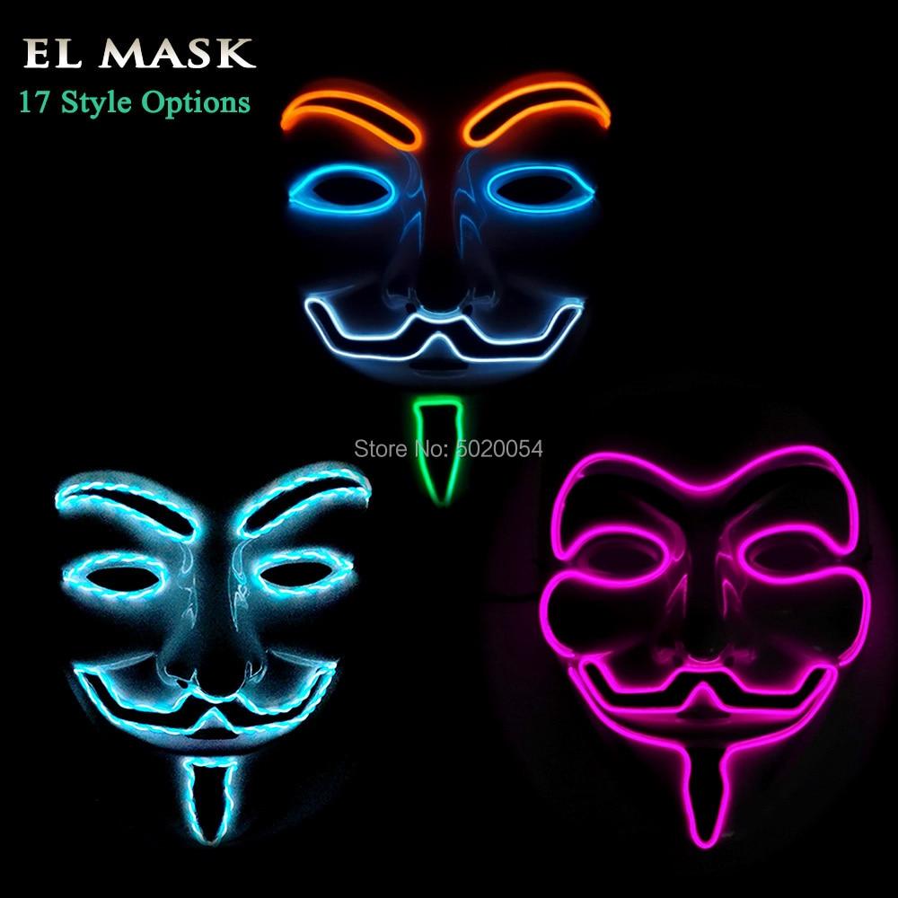 Drop Shipping Dance DJ Masquerade Light Up Mask V for Vendetta EL Led Mask For Night Club Halloween Carnival Decorative