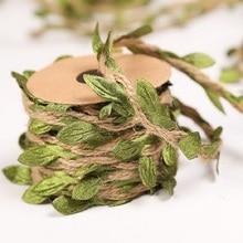 2m/롤 시뮬레이션 녹색 잎 직조 대마 로프 DIY 웨딩 생일 등나무 선물 꽃다발 포장 로프