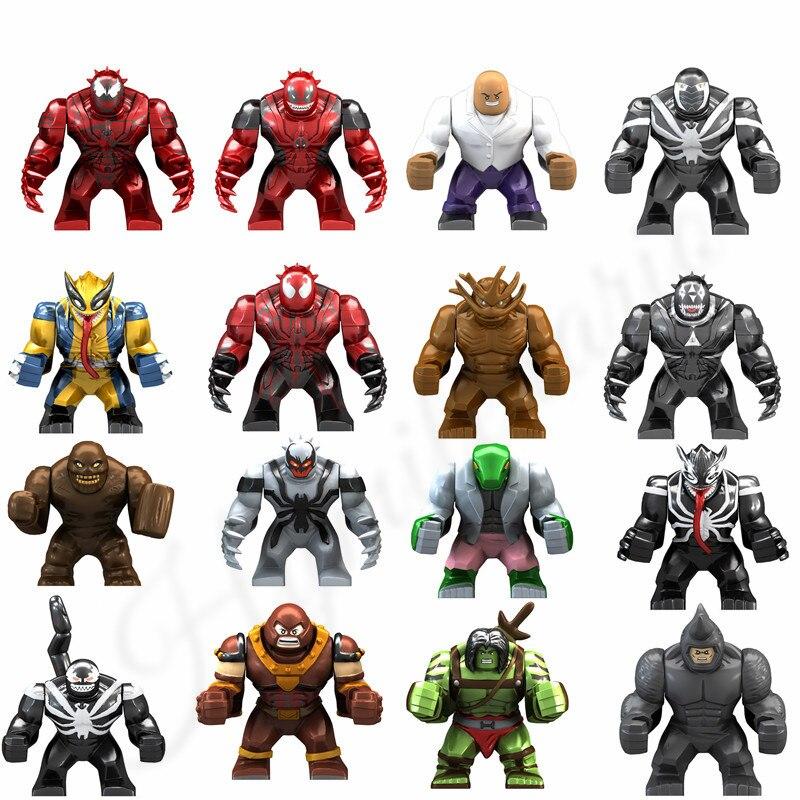Single Sale 7CM Big Size Super Heroes Wolverine Venom Deadpool Agent Kingpin Building Blocks Bricks Learning Toys For Children