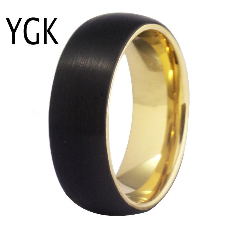 YGK Hochzeit Schmuck Schwarz Matt Oberfläche Gold Innen Mode Wolfram Ringe für Männer Bräutigam Hochzeit Engagement Jahrestag Ring