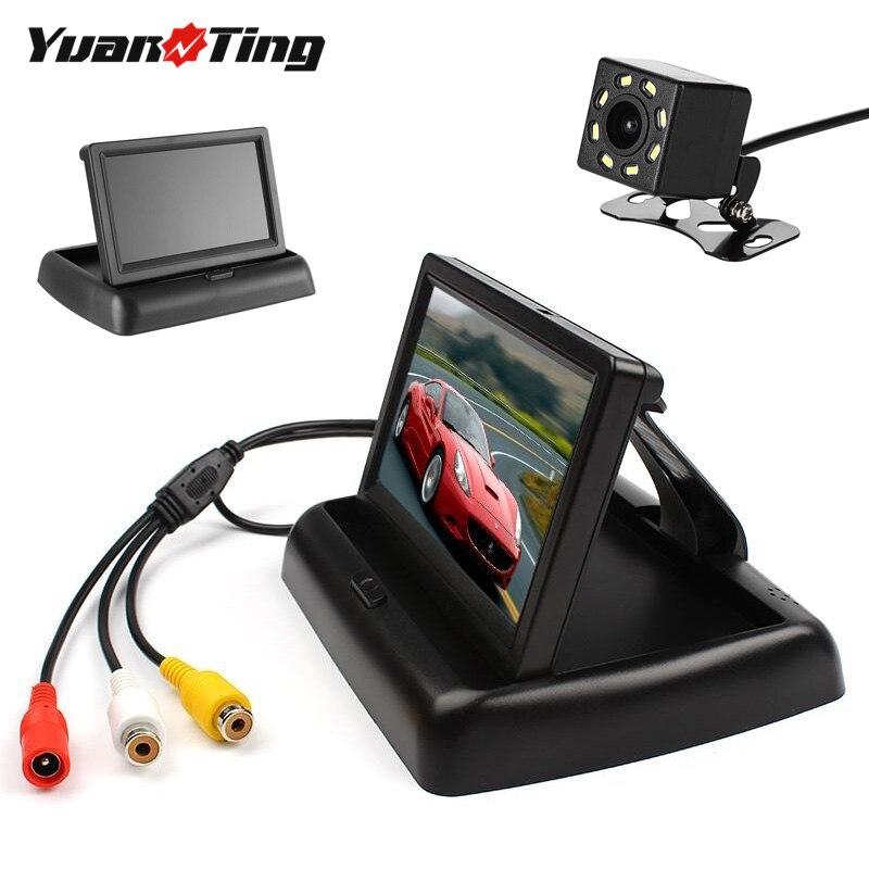 YuanTing 4,3 Monitor de coche plegable TFT LCD marcha atrás vista trasera cámara de aparcamiento 8 LED de visión nocturna impermeable Universal