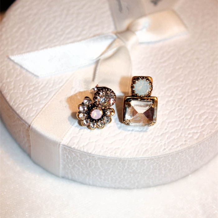 2020 Vintage Sweet Flower Stud pendientes para mujer pendientes de circonia cúbica cristal pequeños pendientes boucle doreille femme 2019