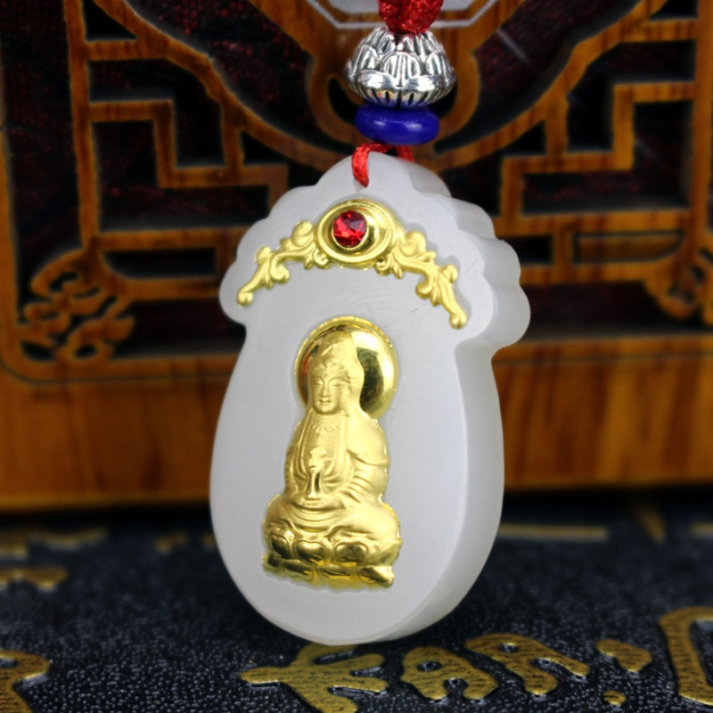 Colgante diosa Hetian Jade y oro Bodhisattva guardián mujeres hombres collar Xinjiang Hetian Jade Guanyin colgante de Bodhisattva