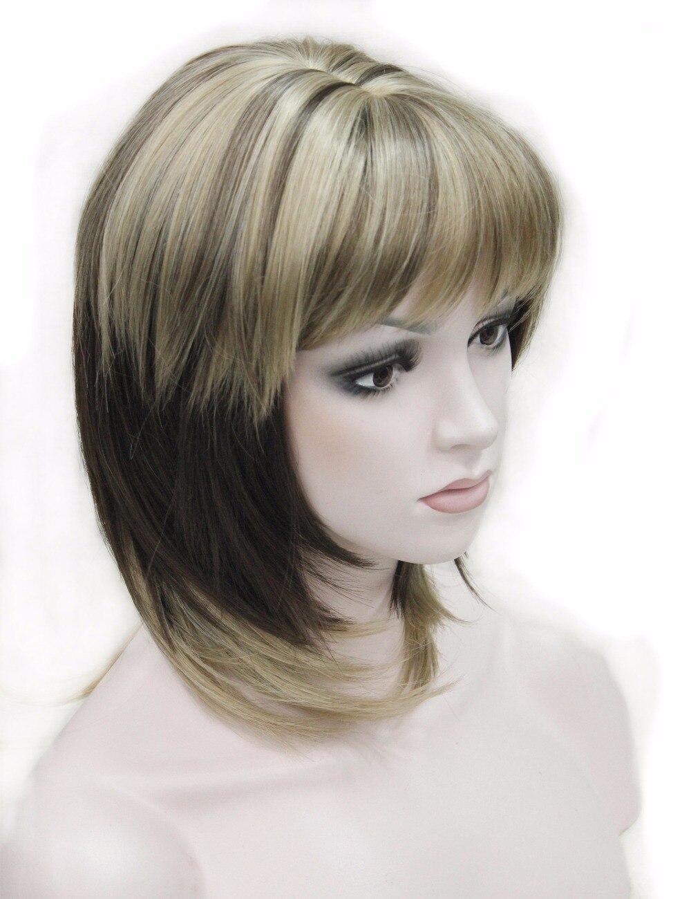 Pelucas sintéticas de belleza fuerte media larga recta Peluca de mujer con flequillo