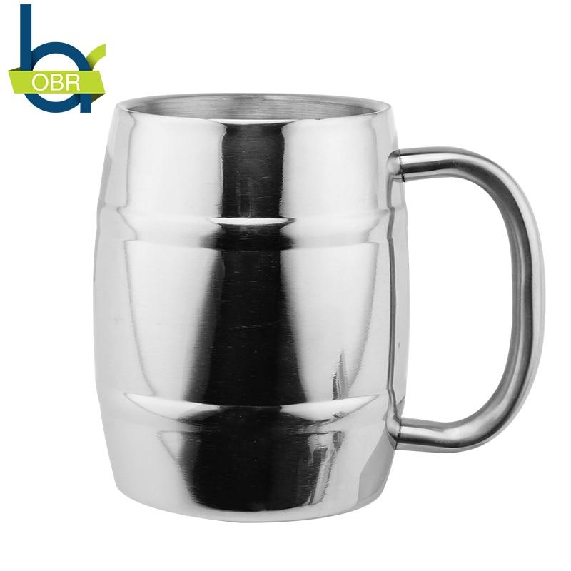 Taza de cerveza de acero inoxidable de 14oz / 400ml con asa, tazas de café de doble pared, tazas de té de la leche, una taza de trago, regalo creativo
