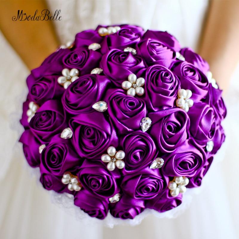 Ramo de novia de boda púrpura perlas azul real satén ramo de dama de honor Trow Boeket flores de novia blanco artificial marfil rojo
