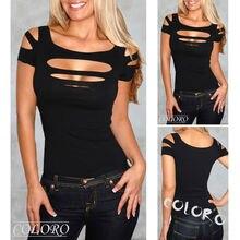 Mujeres señoras algodón blusas camisas busto agujero chaleco mujeres Sexy Tops Club Wear blusa camisa de manga corta ropa negro