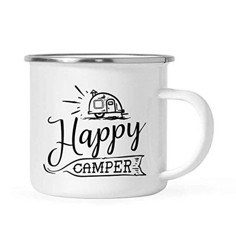 Jarra de café para acampada de acero inoxidable, regalo, Happy Camper, cumpleaños, Navidad, al aire libre, esmalte de Metal, copa para fogatas