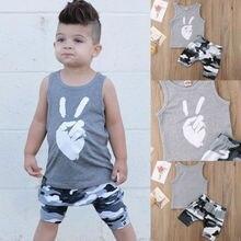 Sommer Neue Kinder Jungen Kleidung Set Nette Baby Jungen Baumwolle Weste Camo Shorts Kinder Mode Casual Kleidung Outfit