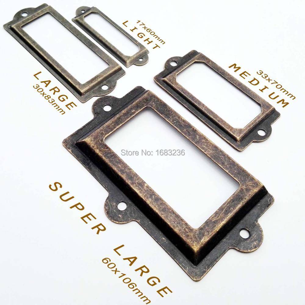 Mini porte-étiquette métallique 2/6 pièces   Cadre de traction, poignée porte-badge pour armoire, meuble, boîte à tiroirs, 4 taille 2 couleur