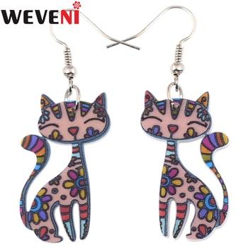WEVENI Acrylic Cartoon Kitten Cat Stud Earrings Lightweight Fashion Animal Jewelry For Women Girls Teens Gift Accessories Bijoux