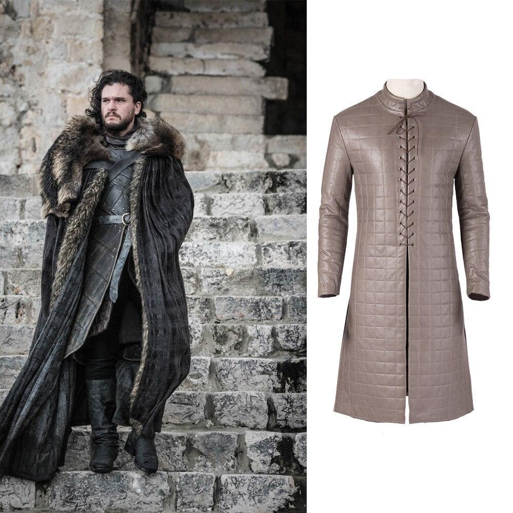Game of Thrones Saison 8 Jon Schnee Cosplay Mantel Jon Schnee PU Leder Top Halloween Party Cosplay Nach Maß