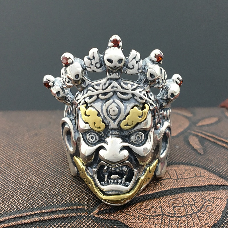 S925 Tailandia exquisita joyería de plata esterlina anillo de calavera estilo Punk Inuyasha fantasma personalidad retro