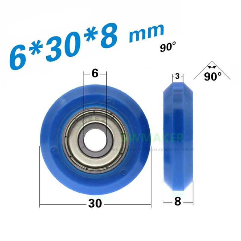 Poulie/rouleau à fente V bleue   Roue enveloppée 626, POM, pour piste de profil en aluminium 2020, 1 pièce 6*30*8mm