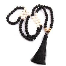 Gratis Verzending Fashion Black Lava Stenen Bohemian Tribal Sieraden Lange Zwarte Kwast Ketting Voor Vrouwen