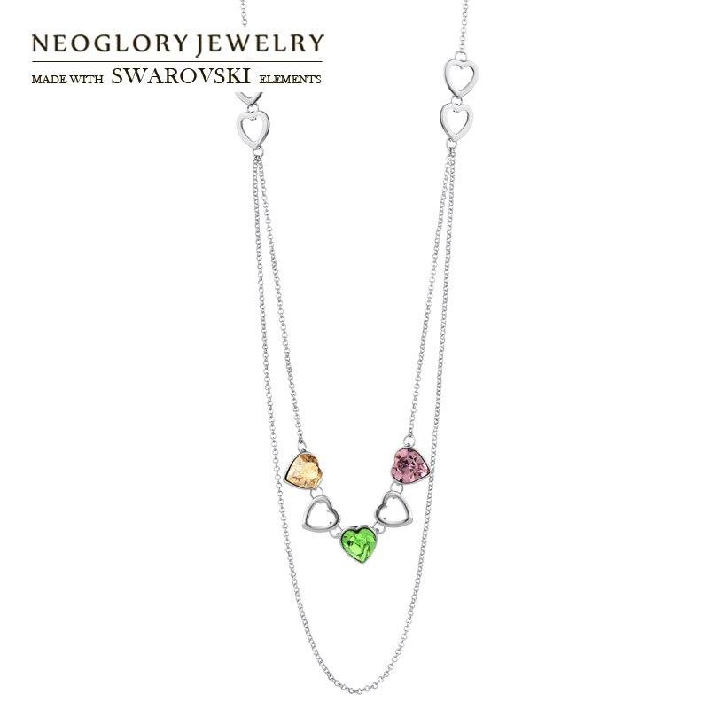Neoglory, collar largo de cristal con encanto, estilo elegante de amor, corazón, mujer de moda embellecida con cristales de Swarovski