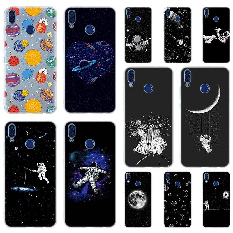 Funda negra blanca luna estrellas astronauta espacial para Huawei Honor 30 20 10 9 Lite 30pro 20pro 30s 10i 9a 8a fundas de teléfono 9x 8x 7a Pro