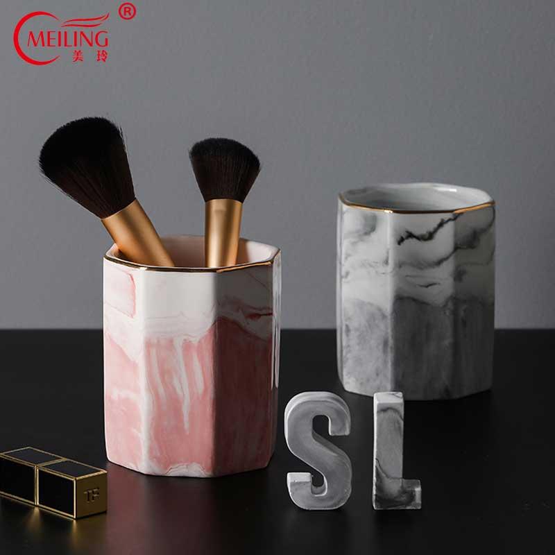 Nordic cerâmica mármore maquiagem escovas titular ouro embutimento rosa cinza caneta dispensador de armazenamento utensílios de mesa para casa vaidade decoração do banheiro