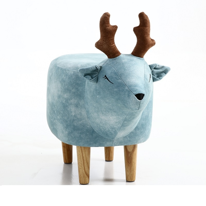Creative lucky deer storage bench shoes bench children's room storage stool footstool animal stool solid wood stool недорого