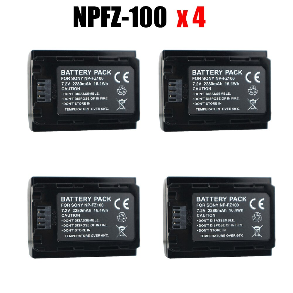 4x NP-FZ100 NPFZ100 NP FZ100 Durapro de la batería de 2280mah para Sony A7R III A7 III BC-QZ1 A9/A9R Alpha9 Alpha9R Alpha 9S A7RM3 Cámara