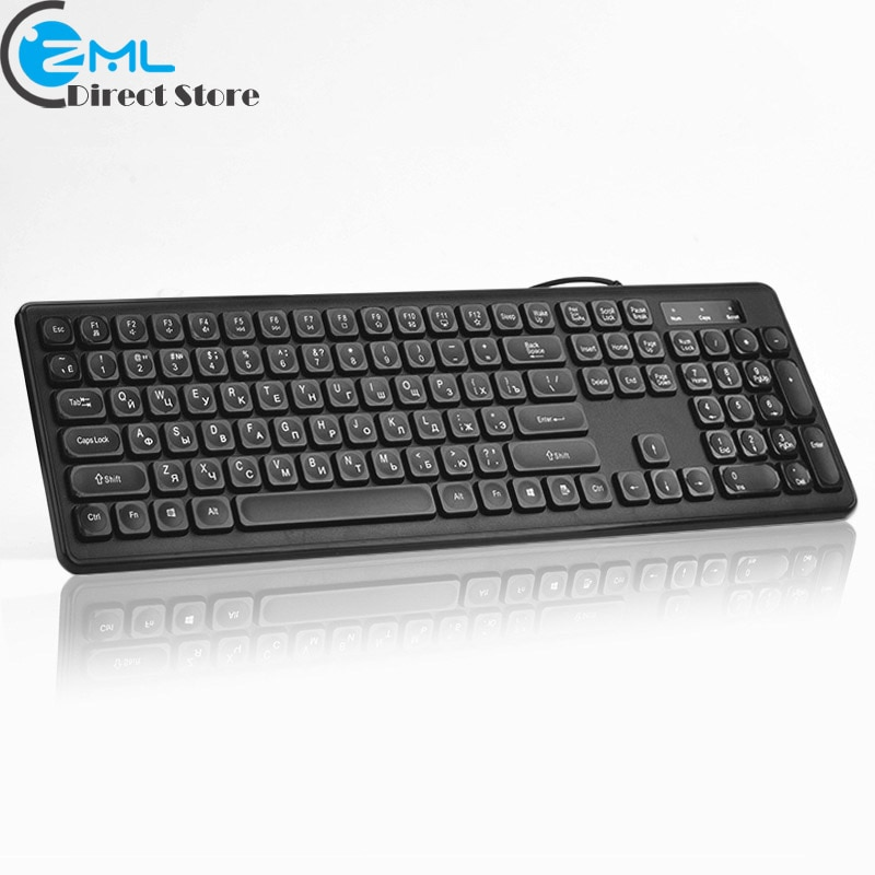 KB940 USB السلكية لوحة مفاتيح روسية سوداء لوحة مفاتيح للوسائط المتعددة 108 مفاتيح منخفضة الضوضاء Keypress مريح الكمبيوتر سطح المكتب لوحة المفاتيح