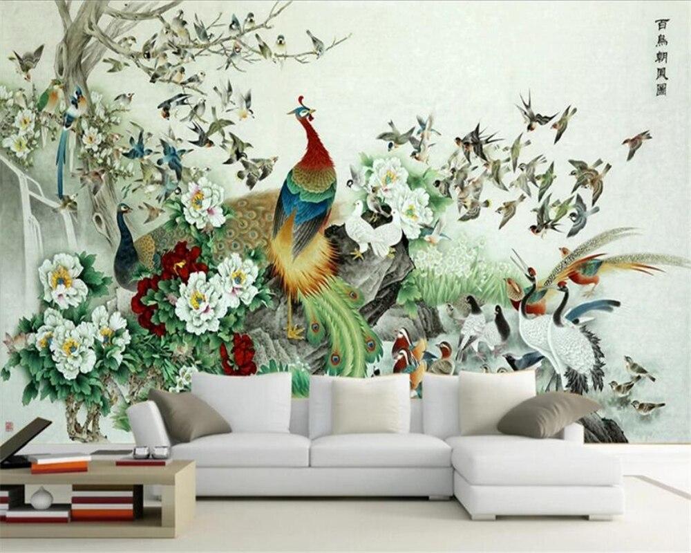 Wellyu-Papel tapiz personalizado 3d de aves y pájaros, mapas de Fénix, pintura...