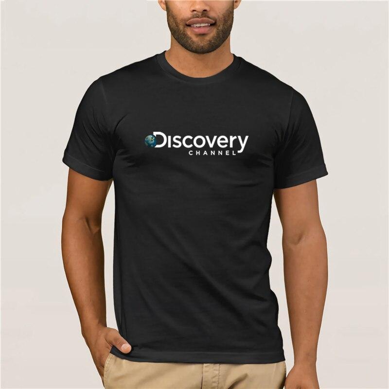 Camiseta a la moda, fantástica camiseta a la moda para hombre, nueva camiseta negra con Logo del canal discovidor para hombre, camiseta sin algodón con envío