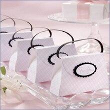 Boîte à bonbons de mariage   Le sac à main à carreaux rose, 300 pièces/lot, cadeaux pour fête prénatale