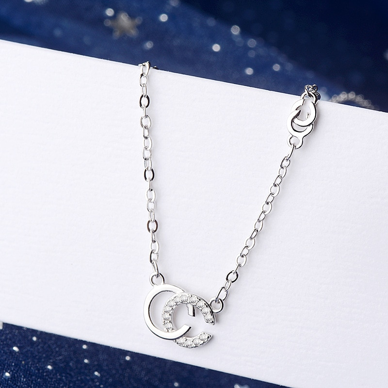 TOUCHEART Simple circón CC letra collares y colgante para mujeres joyería de cristal collar encanto declaración cadena collares SNE190131