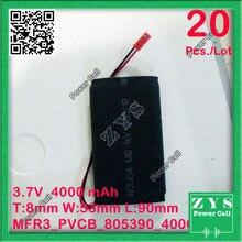 20pcs./Lot Safety Packing, 2 pin 3.7V 4000mAh 805390 Lipo Battery Model  For Quadcopter Drone UAV UAS mini Drone Zone 80x53x90mm