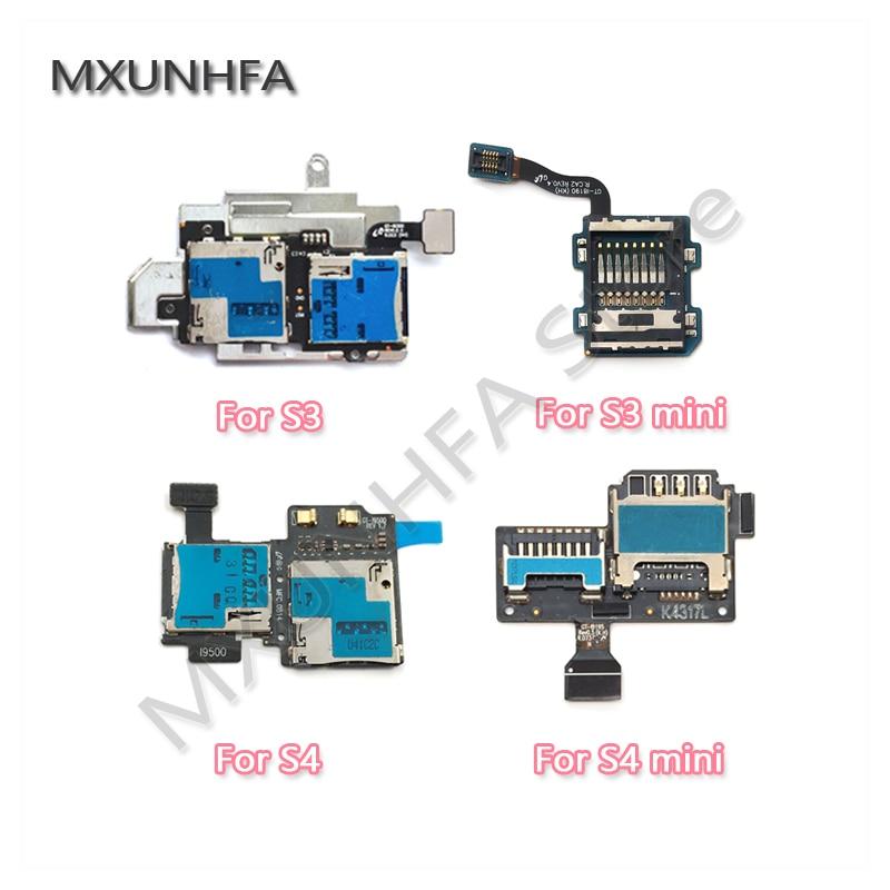 Mikro SD SIM Kart Yuvası Tutucu Okuyucu Samsung Galaxy S3 S4 Mini i9300 i9500 i9505 i8190 i9190 i9195 Flex kablo Değiştirme