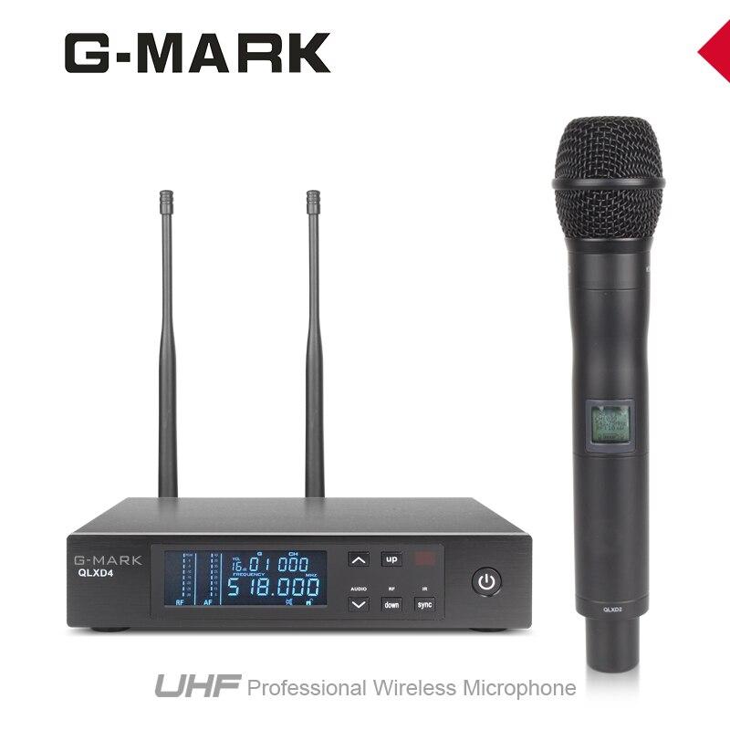 G-MARK sistema con micrófono inalámbrico de mano de Micrófono Dual en la recepción de la señal, de 200 metros de distancia de recepción QLXD4-2