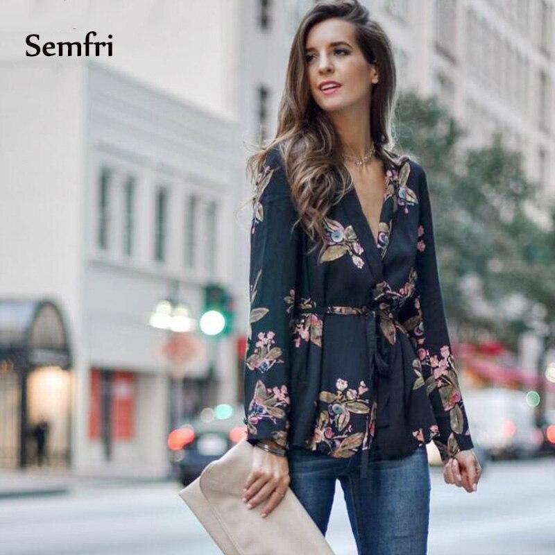 Semfri Blouse Women Black Kimono Shirt Sexy Floral Blouse with Belt 2020 Long Sleeve Autumn Summer New Boho Tops and Blouses