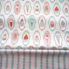 Dolce 50*160 cm cupcake gelato della banda floreale AB 100% twill di cotone per I BAMBINI tessuto quilting casa decor patchwork telas panno