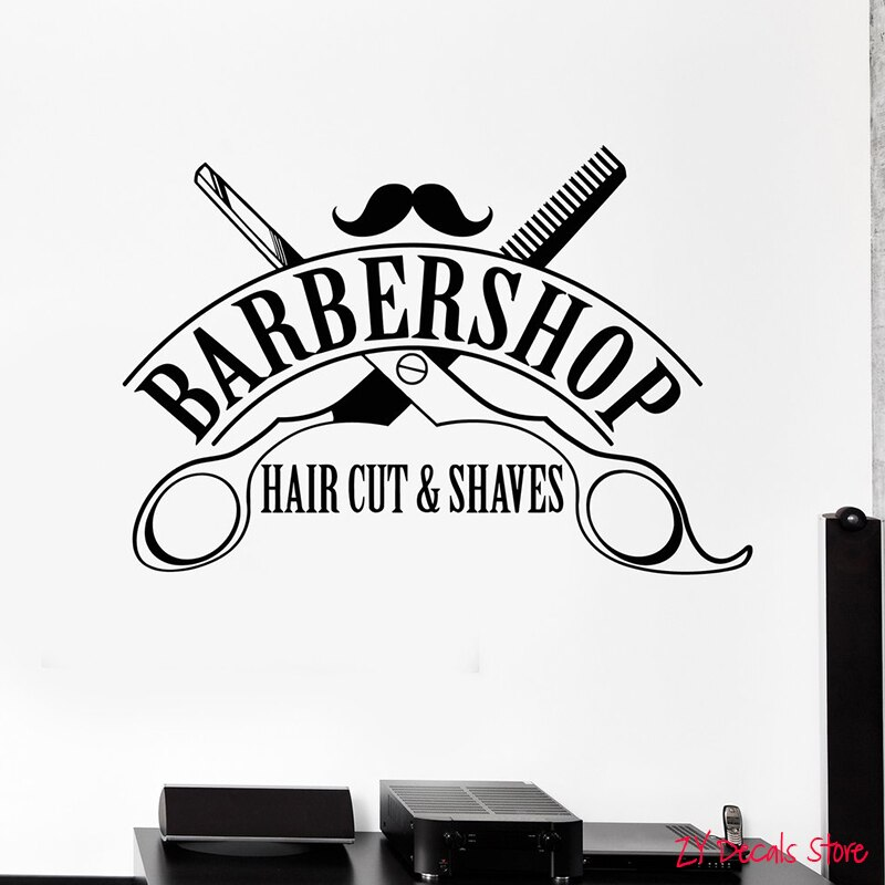 Calcomanía de vinilo para pared barbería corte de pelo afeitado pegatinas de tijeras Mural ventana Interior decoración cita peinado L632
