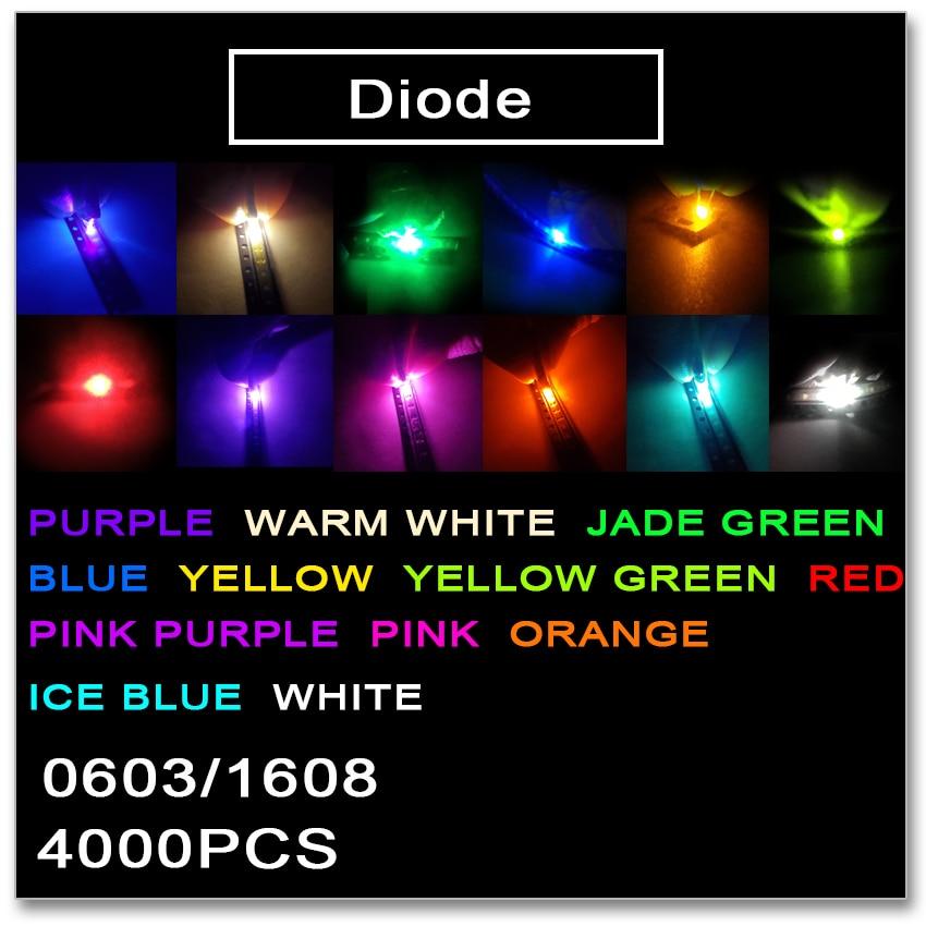 Jasnprosma 0603 1608 smd led 4000 pçs vermelho laranja amarelo verde jade verde gelo azul branco quente rosa roxo luz cores 1.2*0
