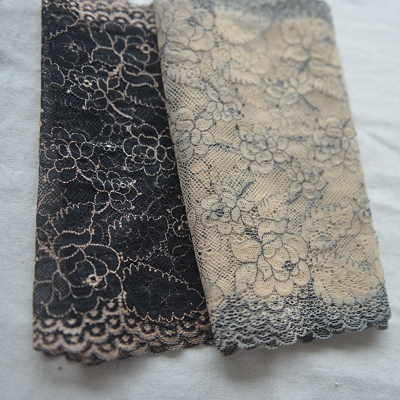 Broderie en dentelle de polyester lisse, noire/beige, en tulle pour soutien-gorge, largeur 22cm, Z1037, 4 M/lot