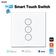 MLWX EUUK القياسية 3 عصابة WiFi اللمس التبديل عن بعد wirless مفتاح الإضاءة تويا الذكية الحياة التطبيق مفتاح تحكم في الحائط العمل مع اليكسا