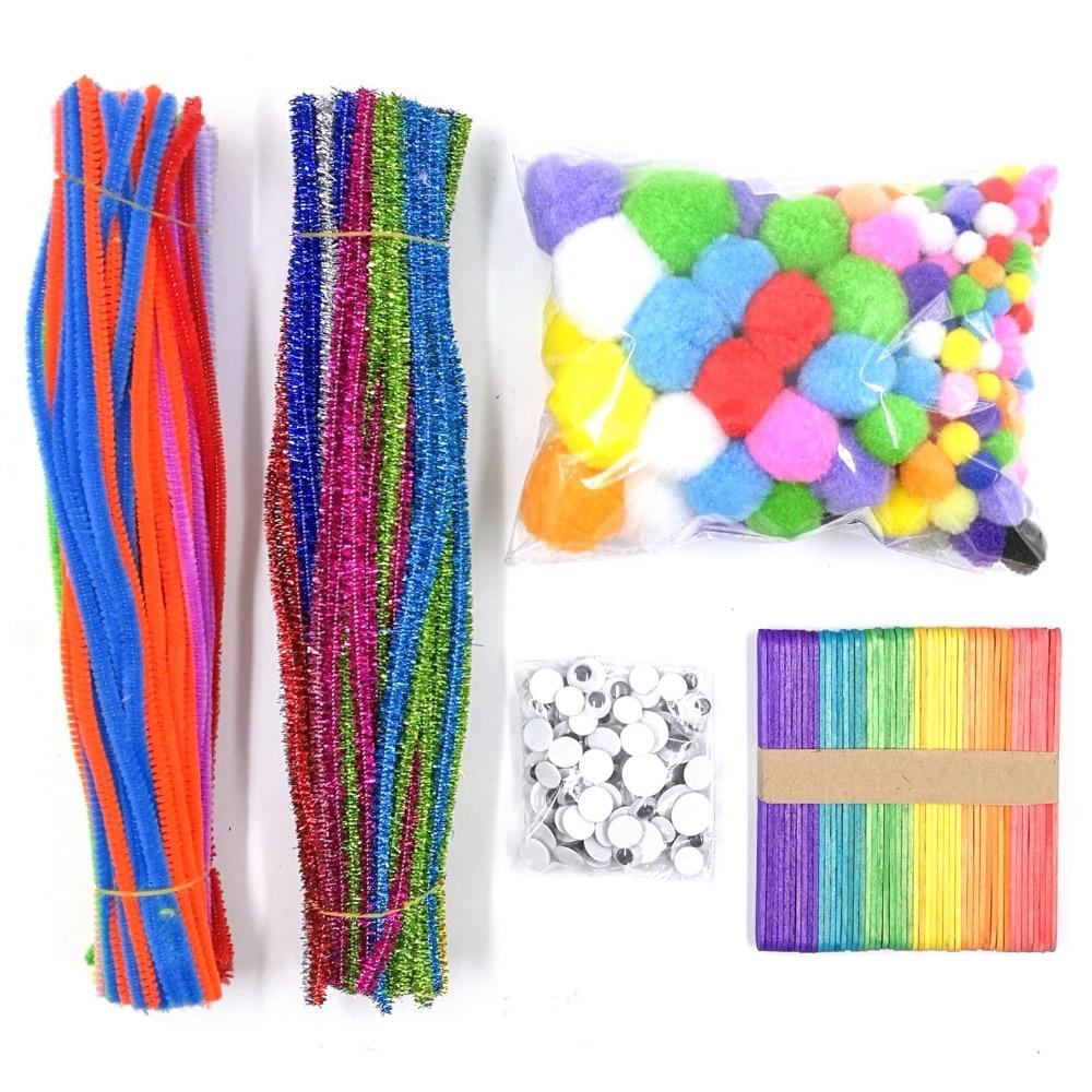 600 цветных стеблей синели блестящие палочки синели трубы очиститель стволовых Wiggle Гугли глаза шарики-Помпоны ремесленные палочки DIY набор и...