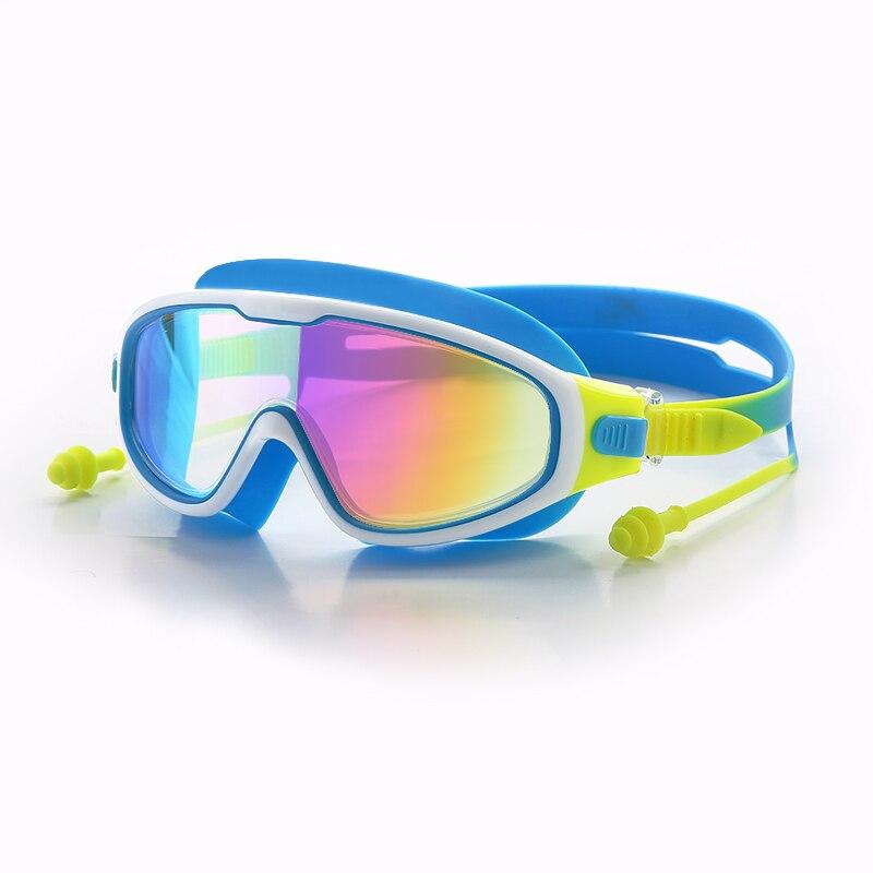 Gafas de natación antiniebla 8-12Y, gafas de natación de silicona para niños, gafas para niños, gafas impermeables de buceo, gafas de natación con tapones para los oídos