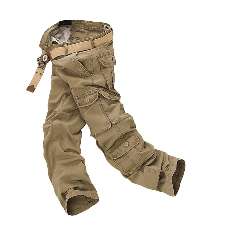 hot new men multi pockets casual pants loose knee length overall camo cargo pants plus size 4 colors men s summer pants Fashion Military Cargo Pants Men Loose Baggy Tactical Trousers Oustdoor Casual Cotton Cargo Pants Men Multi Pockets Big size