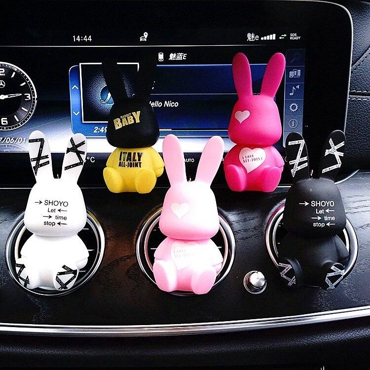 Clip de perfume de salida de aire acondicionado para coche Baby Rabit de JOORMOM, accesorios de coche rosa con diamantes de imitación para decoración de coche