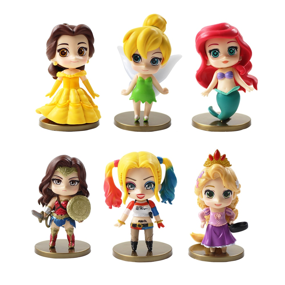 9-11cm 6 pçs/lote princesa bonito action figure modelo toy princesa Belle Ariel Rapunzel Tinker Bell Mulher Maravilha Harley Quinn figura
