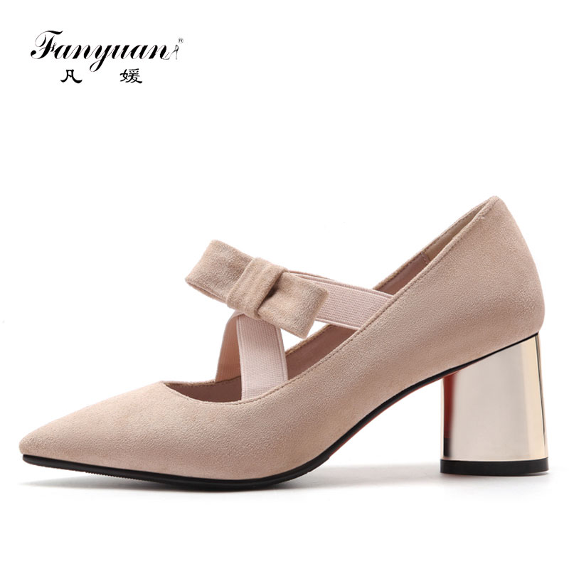 Fanyuan Women Shoes High Heel Flock Butterfly-Knot Ladies High Heels Elegant Pointed Toe Sexy Ladies Wedding Shoes Size 33-43