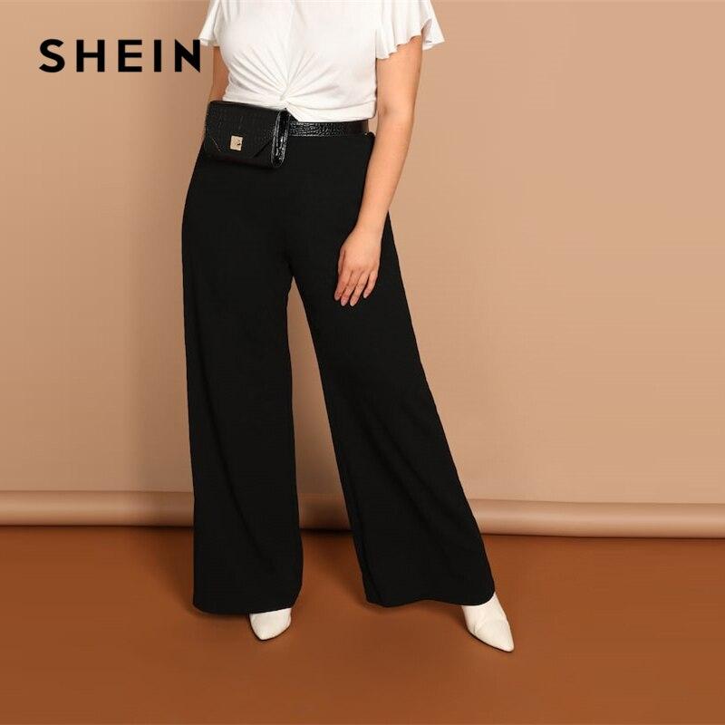 SHEIN Schwarz Plus Size Plain Lose Breite Bein Lange Hosen Frauen Büro Dame Minimalistischen 2019 Frühling Fashion Solid Hosen