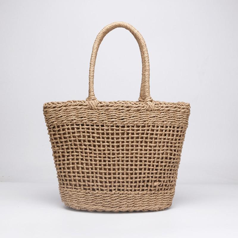 Casual Simple And Generous No Decorative Plain Color Net Hollow Textured Woven Bag Popular Straw Bag Handbags 37x25CM